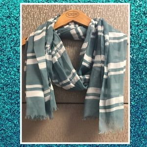Talbots Teal & White Striped Scarf